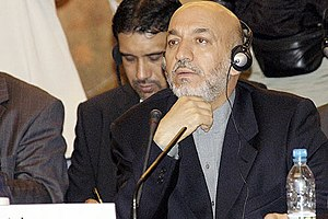 English: Afghan President Hamid Karzai at a su...