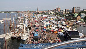 Hanse Sail - City harbour of Rostock during Hanse Sail 2010