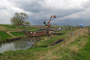 River Ancholme - The Environment Agency were undertaking renovation work at Harlam Hill lock in 2008.