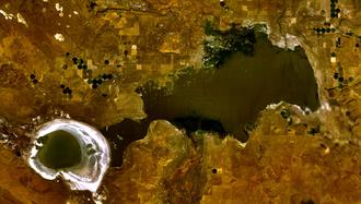Malheur Lake - Satellite image of Malheur Lake (right) and Harney Lake (left) in 2004