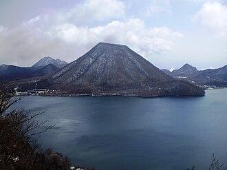 Mount Haruna - Inside of Haruna Caldera with Haruna-Fuji pyroclastic cone and Lake Haruna.