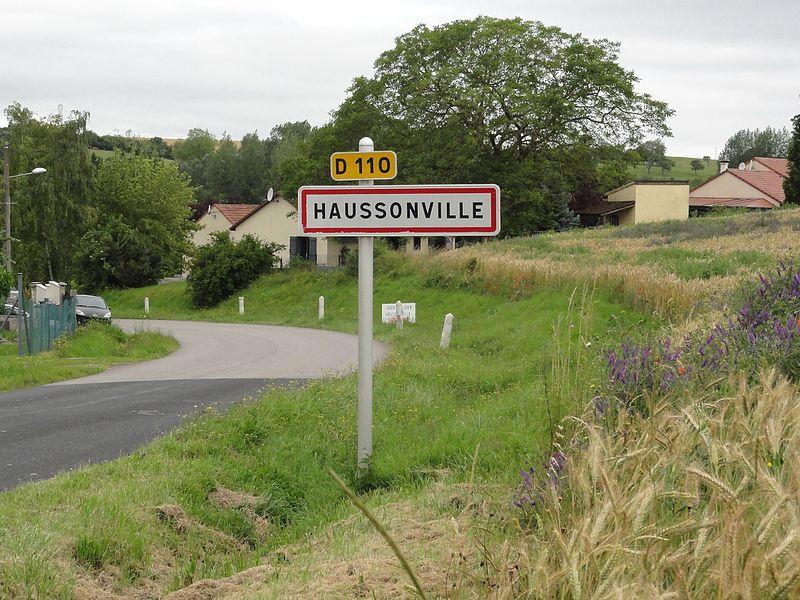 Haussonville (M-et-M) city limit sign