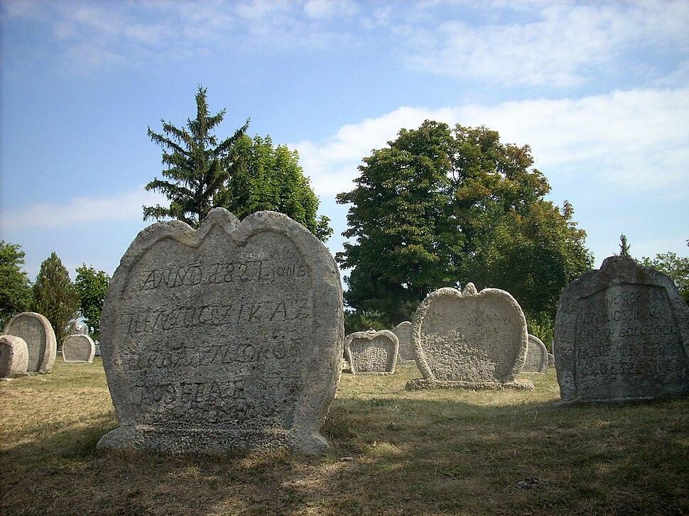 Heart-shaped tombstones in Balatonudvari
