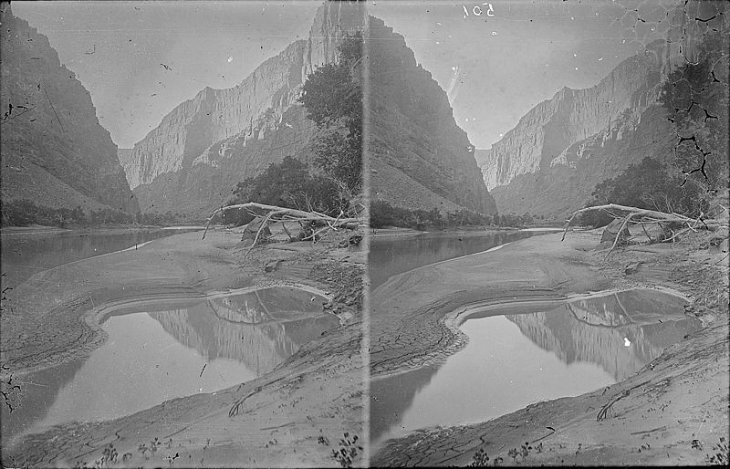 File:Heart of Lodore. Green River, similar to 4228 which shows Dellenbaugh seated on the bank and reflected in the water.... - NARA - 517838.jpg