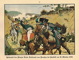 Battle of Saalfeld - The death of Louis Ferdinand of Prussia, as depicted by Richard Knötel