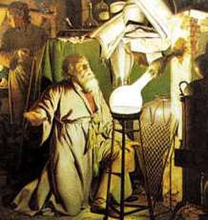 Match - The Alchemist in Search of the Philosophers Stone (1771) by Joseph Wright depicting Hennig Brandt discovering phosphorus.