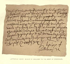 Henry Wemyss - The letter from Bishop Henry to Abbot William Kennedy of Crossraguel; Bishop Henry's signature is visible in the bottom-right.