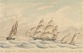 Her Majesty's Ships Amphitrite and Trincomalee Beating out of San Francisco on Sepr 23rd 1854 RMG PY0799.jpg