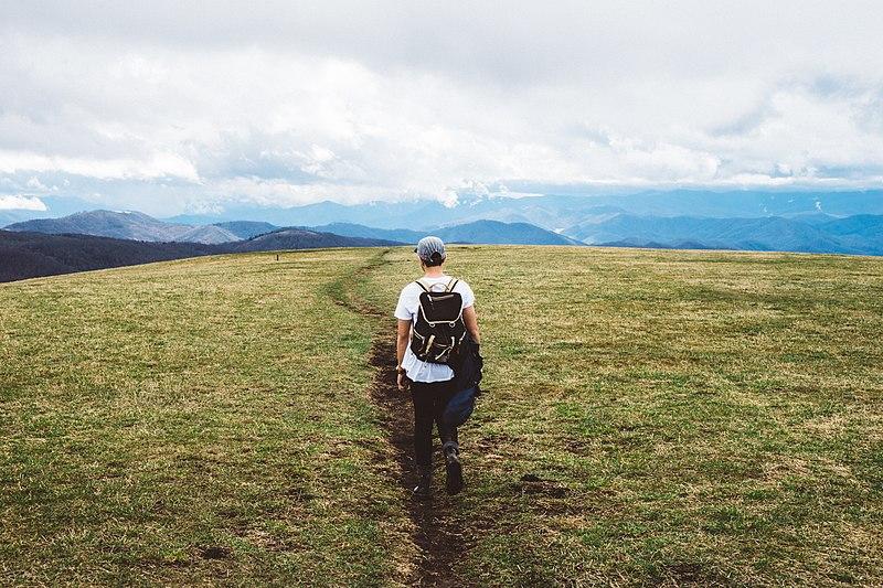 File:Hiking man in green field (Unsplash).jpg