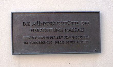 Memorial plaque in Limburg for the mint of the Duchy of Nassau Hinweisschild zur Munzpragung im Herzogtum Nassau.JPG