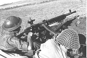 Operation Hiram - Israeli machine gun position during an assault on Sa'sa