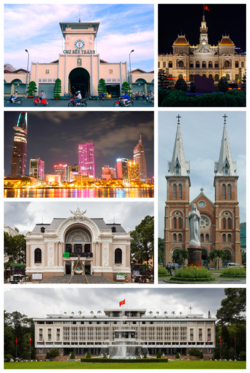Clockwise, from left to right:Bến Thành Market, Ho Chi Minh City Hall, District 1 view from Saigon river, Municipal Theatre,  Notre-Dame Cathedral Basilica of Saigon, Independence Palace