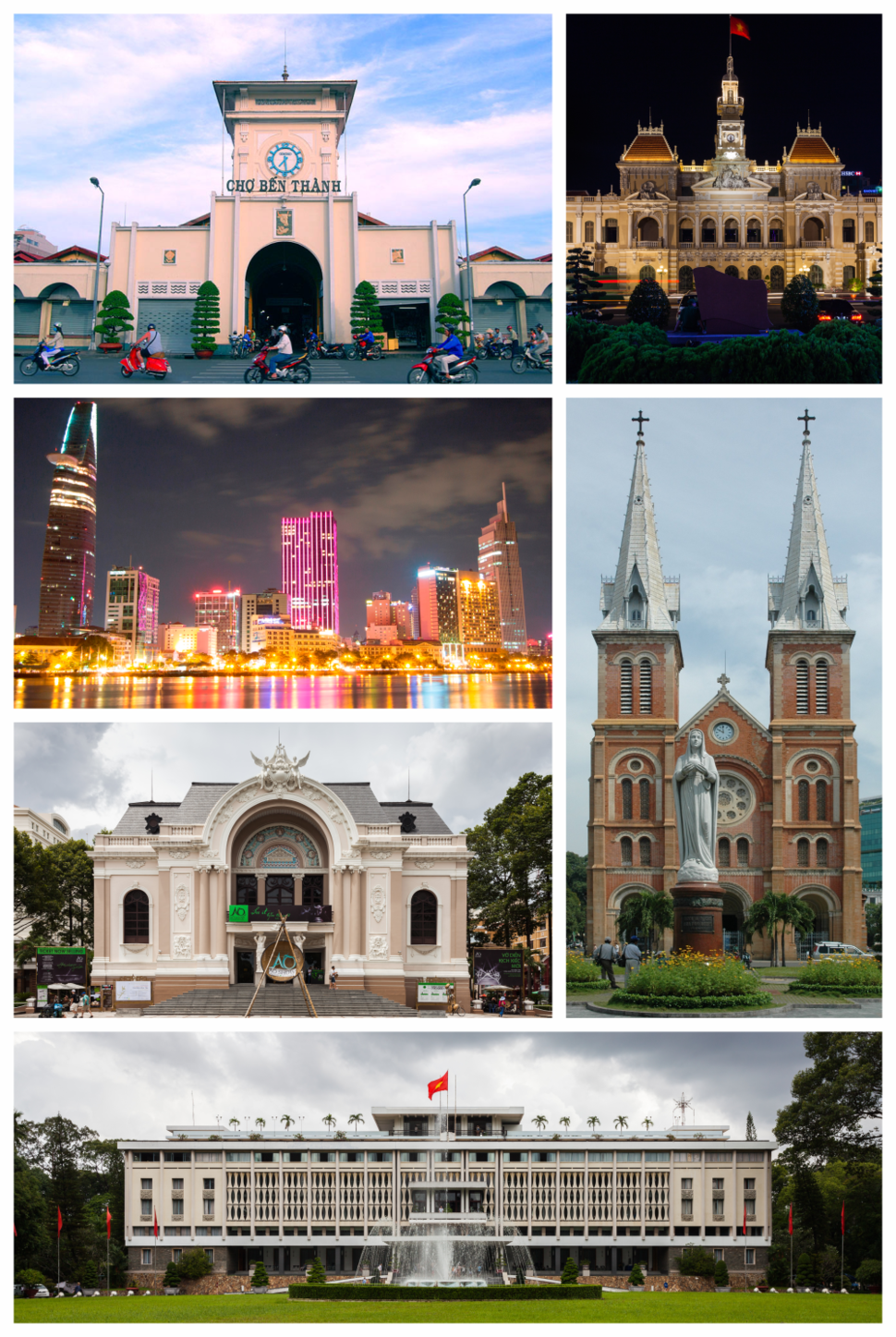 Clockwise, from top left: Bến Thành Market, Ho Chi Minh City Hall, Notre-Dame Cathedral Basilica of Saigon, Independence Palace, Municipal Theatre, View of central Ho Chi Minh City from District 2