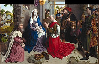 The Adoration of the Kings (Gossaert) - Image: Hugo van der Goes The Adoration of the Kings (Monforte Altar) Google Art Project