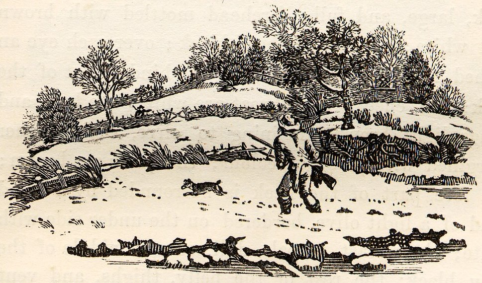 Hunter in the Snow tail-piece in Bewick British Birds 1804