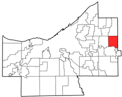 Location of Hunting Valley in Cuyahoga County