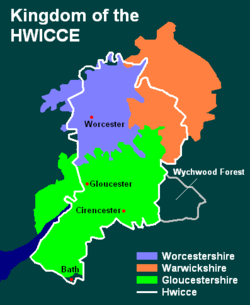 Kingdom of the Hwicce (with later counties). Wychwood Forest, a former Hwicce territory, had apparently been lost before 679.