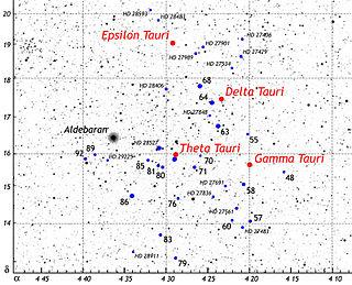Theta Tauri Binary star in the constellation Taurus