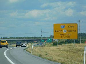 Interstate 781 - I-781 signage denoting its ending near Fort Drum