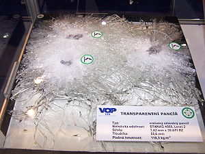 Bulletproof glass - Ballistic test of a bullet-resistant glass panel