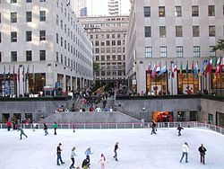 Ice rink in lower plaza