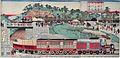 Ichiyusei Kuniteru II (1870) Tokyo Takanawa totsudo jokisha sagyo no zenzu.jpg
