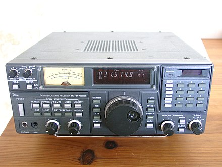 A modern communications receiver, used in two-way radio communication stations to talk with remote locations by shortwave radio. Icom IC-R7000 radio receiver.jpg