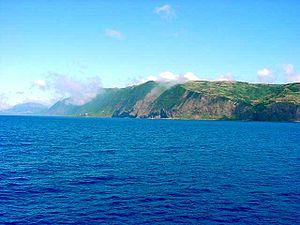 São Jorge Island - The southern coast of São Jorge, with its rugged cliffs along the southeastern part of Calheta