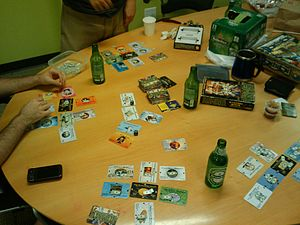 Illuminati (game) - A game of Illuminati in progress.