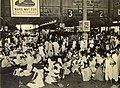 Indian travelers waiting at a railway station in Calcutta due to wartime transportation priorities in 1945.jpg