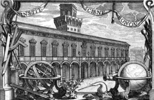 Academy of Sciences of the Institute of Bologna - Seventeenth century engraving of the Institute in the Palazzo Poggi