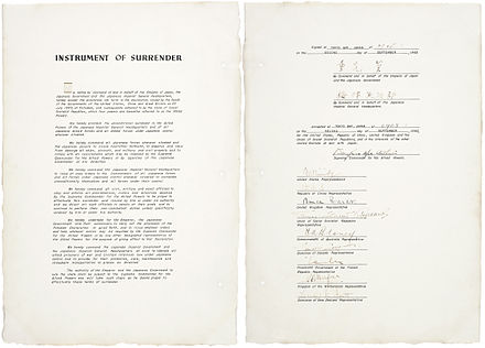 The instrument of surrender, dated September 2, 1945 Instrument of surrender Japan2.jpg
