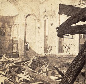 St. George's Episcopal Church (Manhattan) - The interior of the church after the fire in 1865