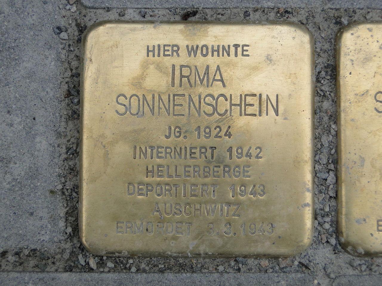Irma Sonnenschein Stolperstein Dresden.JPG