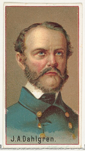 1888 color lithograph of J. A. Dahlgren, from a series by Allen & Ginter Cigarettes J. A. Dahlgren, printer's sample for the World's Inventors souvenir album (A25) for Allen & Ginter Cigarettes MET DP838820.jpg