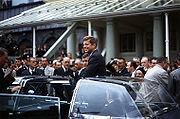 President Kennedy in motorcade in Ireland on June 27, 1963.