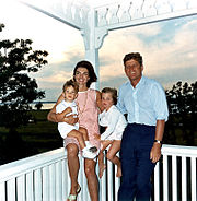 John F. Kennedy with wife Jacqueline and children, 1962.