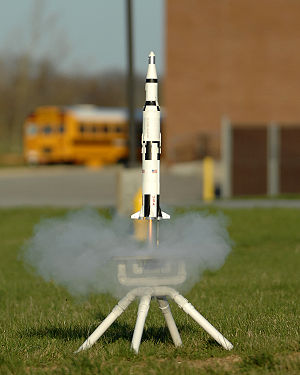 Model rocket - The launch of a scale model of Saturn V