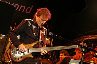 Jack Bruce - Bruce playing a fretless Warwick Thumb bass guitar at the Jazzfestival in Frankfurt, Germany on 28 October 2006
