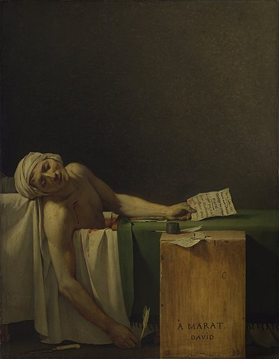 La muerte de Marat por Jacques-Louis David, 1793.