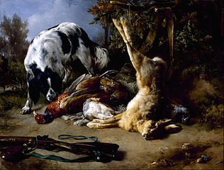 Spaniel with a Still Life of Dead Game