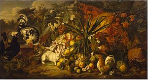 Jan Baptist Boel the Younger - Still life with roosters and rabbits