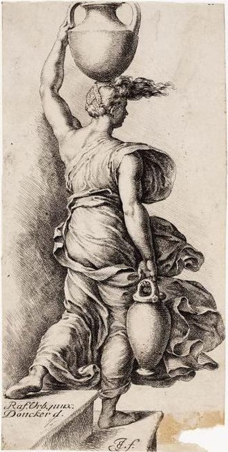 Jan de Bisschop - Woman with a jug, copy after a drawing by Pieter Donker, who in turn copied Raphael.