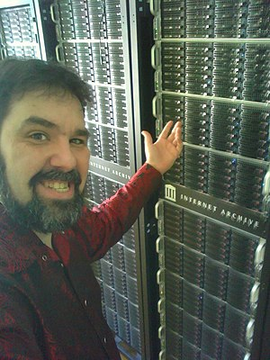 Jason Scott - Scott in front of a PetaBox. Scott was hired by the Internet Archive in 2011.