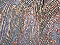 Jaspilite banded iron formation (Soudan Iron-Formation, Neoarchean, ~2.69 Ga; Stuntz Bay Road outcrop, Soudan Underground State Park, Soudan, Minnesota, USA) 23 (18602385204).jpg
