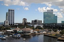 View of Riverplace Tower and the Southbank from the Acosta Bridge
