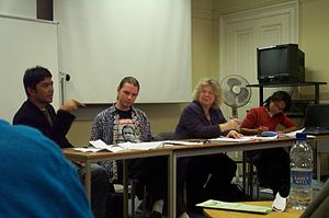 European Social Forum - Jean Lambert MEP (Green, London) inter alios at the School of Oriental and African Studies during a fringe meeting of the ESF on the situation in Aceh, October 15, 2004.  An Italian Senator Francesco Martone from the Greens was also in the audience (not shown).