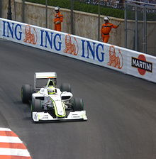 Photo de l'avant de la BGP 001 de Button à Monaco