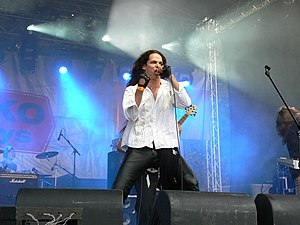 """Jeronimas Milius (Eurovision song content participant from Lithuania) from Soul Stealer performing at """"Rock Nights 2005""""."""