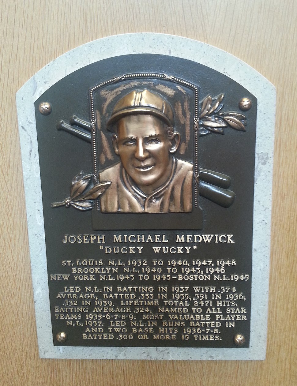 Joe Medwick plaque